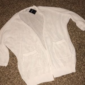 Forever 21 long, open white cardigan  Size 3XL